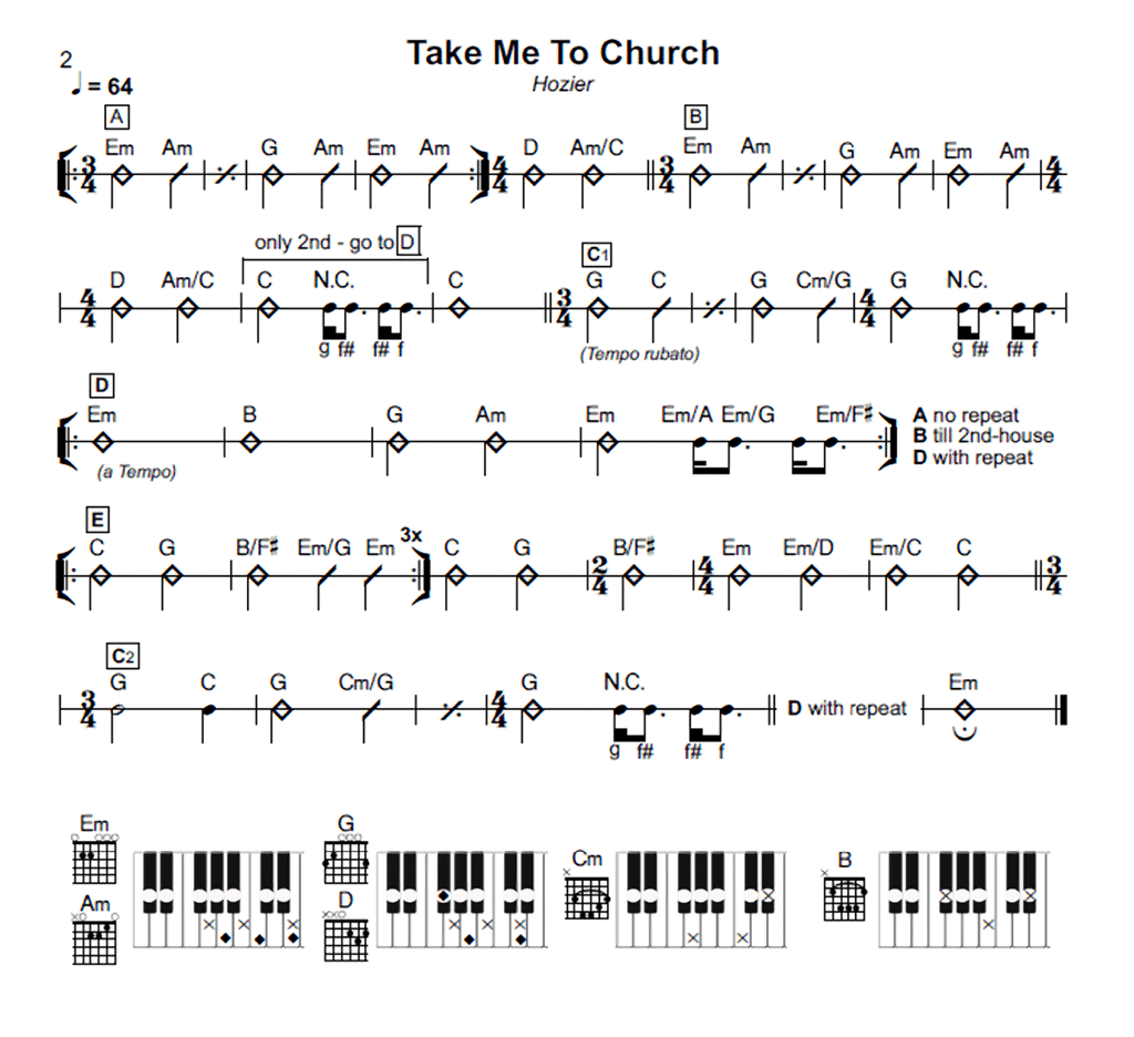 To church chords keyboards click for details take me to church piano